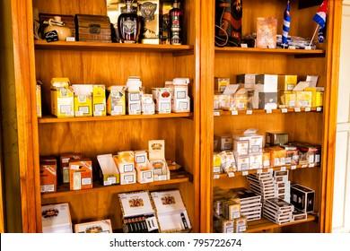 TRINIDAD, CUBA - NOV 21, 2017: Cuban cigars in casa de tobacco where they sell genuine cigars like Cohiba, Montecristo or Romeo and Julietta