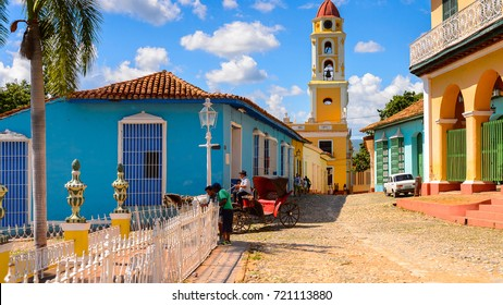 TRINIDAD, CUBA - SEP 7, 2017: Architecture of Trinidad, Cuba. UNESCO World Heritage