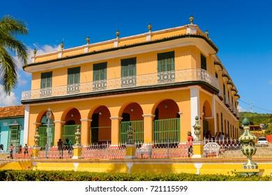 TRINIDAD, CUBA - SEP 7, 2017: Architecture of Plaza Mayor of Trinidad, Cuba. UNESCO World Heritage