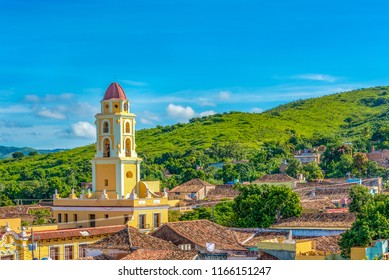 Trinidad, Cuba-July 14, 2018: Aerial view of the colonial city including the Saint Francis of Assisi convent or church. Trinidad is a Unesco World Heritage Site
