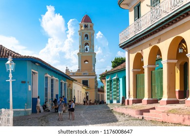 Trinidad, Cuba-July 5, 2018: Main plaza including the Saint Francis of Assisi convent in the center. Trinidad is a Unesco World Heritage Site and a major tourist attraction