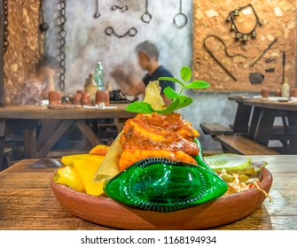 Trinidad, Cuba-July 5, 2018: Tamal or tamales beautifully served in private restaurant in Cuba. The new private paladares or restaurant fiercely compete with the government establishments.