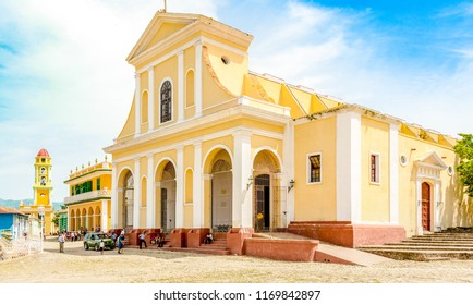 Trinidad, Cuba-July 9, 2018: Church of the Holy Trinity located in the main town square. Trinidad is a Unesco World Heritage Site and a major tourist attraction in the Caribbean island