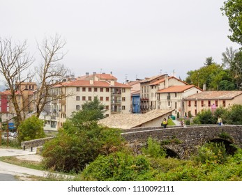 Trinidad de Arre, Navarre, Spain - September 4, 2014: Arriving to Trinidad de Arre by the River Ulzama, the start of a mainly urban walk to Pamplona