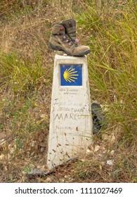 Trinidad de Arre, Navarre, Spain - September 4, 2014: Waymark on the Camino de Santiago
