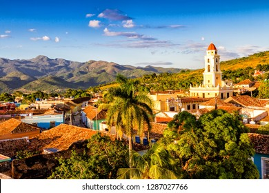 Trinidad de Cuba a travelling landmark in the Caribbean: Aerial view of Trinidad skyline including the Convent of Saint Assisi which is currently used as the Museum of the Fight Against Bandits