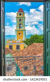 Trinidad, Sancti Spiritus, Cuba, bell tower in the Saint Francis of Assisi church. Trinidad is a Unesco World Heritage Site and a tourist attraction in the Caribbean island