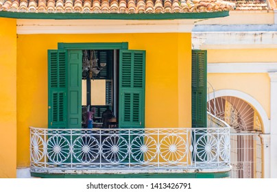 Trinidad, Sancti Spiritus, Cuba, colonial balcony in old building. Trinidad is a Unesco World Heritage Site and a tourist attraction in the Caribbean island