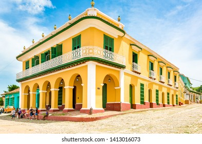 Trinidad, Sancti Spiritus, Cuba-March 20, 2015: Facade of the 'Romantic Museum' which is a colonial building in the village center. The colonial town is a Unesco World Heritage Site.