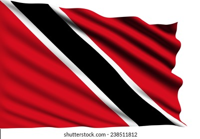 Trinidad and Tobago flag with fabric structure (clipping path)