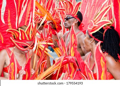 TRINIDAD WEST INDIES - FEBRUARY 5: masqueraders in flame costumes take part in Carnival Tuesday celebrations on February 5, 2008 in Port Of Spain, Trinidad W.I.