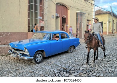 TRINIDAT, CUBA - January 8, 2018: Street scene in the Old Town.