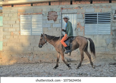 TRINIDAT, CUBA - January 8, 2018: Man riding a horse.