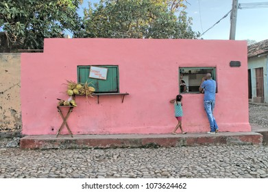 TRINIDAT, CUBA - January 8, 2018: Customers at the coconut water store.