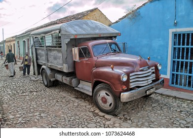 TRINIDAT, CUBA - January 8, 2018: Vintage truck parked on the street.