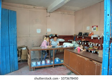 TRINIDAT, CUBA - January 8, 2018: Typical interior of a cuban, poorly stocked store.