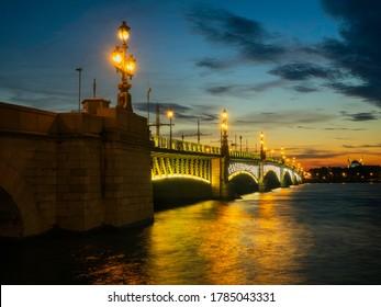 Trinity Bridge across the Neva River in the Saint Petersburg