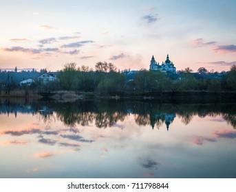 Trinity Cathedral near the Zemsnaryad lake in Chernihiv