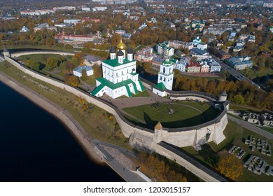 Trinity Cathedral in the Pskov Kremlin on a sunny October day (aerial photography). Russia