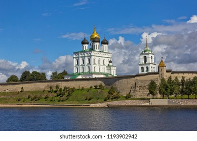 Trinity cathedral in Pskov, Russia seen across river