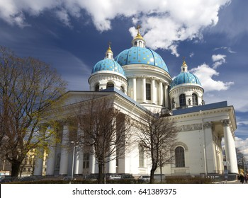 Trinity Cathedral in Saint Petersburg, Russia, Orthodox church. Wide angle lens image. Blue sky with clouds in spring.