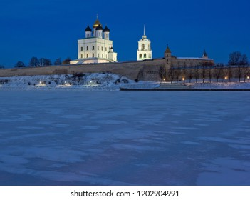 Trinity cathedral seen across river at night in Pskov, Russia