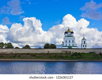 Trinity cathedral seen across river  in Pskov, Russia