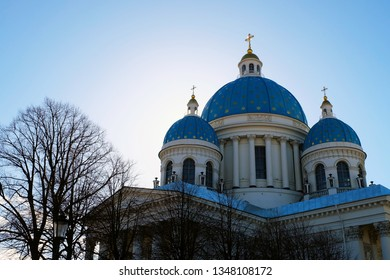 The Trinity Cathedral (Troitsky sobor, Troitse-Izmailovsky sobor), sometimes called the Troitsky Cathedral with blue sky on background Saint Petersburg, Russia