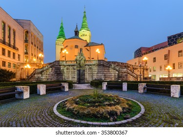 Trinity Cathedral in Zilina, Slovakia in the evening.