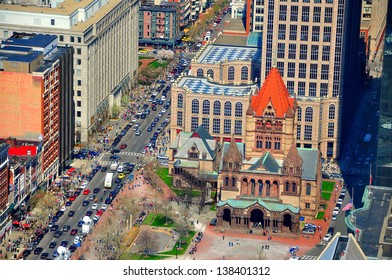 Trinity Church in Copley Square, Boston, USA. The church is located in the Back Bay of Boston, Massachusetts, is a parish of the Episcopal Diocese of Massachusetts.