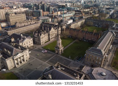Trinity College aerial view. Dublin, Ireland. February 2019