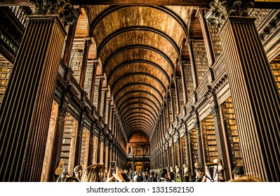 Trinity College Dublin/Ireland 05/23/2017 Trinity College interior general  view. Book shelves and books. Lovely and bright view.