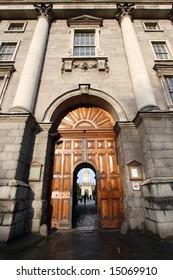 trinity college, main gate, dublin, ireland