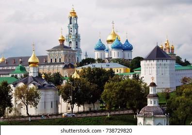Trinity Sergius Lavra (monastery). Popular touristic landmark, UNESCO World Heritage Site. Color photo.