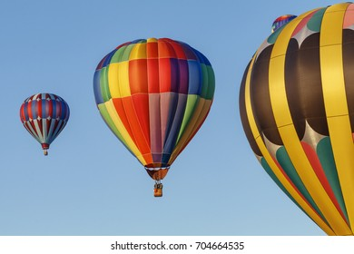 A trio of bright hot air balloons line up in the crisp morning sky.