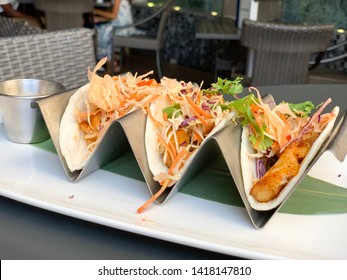 Trio of Fish Tacos with Cabbage Slaw