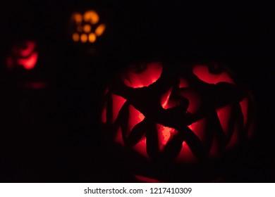 Trio of Halloween Jack-o-Lanterns