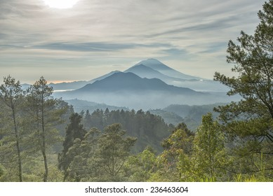 Trio Mountains of Bali (Mt Batur, Mt Abang, Mt Agung) in the Morning