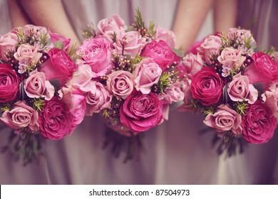 Trio of Pink Bridesmaid Posies