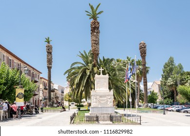 Trion Navarchon (Three admirals) Square with the monument to Demetrius Ypsilantis in the Nafplio , Greece , photographed in June 23. 2017.