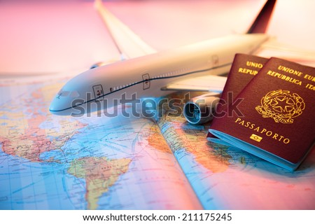 trip in America - passport, airplane and map of world
