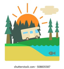 Trip by camper in forest concept. Flat illustration of trip by camper in forest  concept for web
