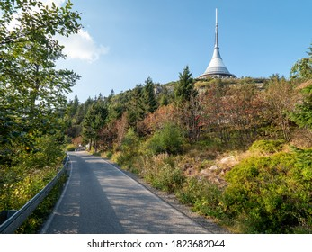 Trip to Jested mountain with popular Jested tower and hotel. Visible telecommunication transmitter building,  - Shutterstock ID 1823682044