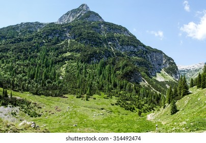 Trip to the KRN Slovenia 2245 mountain in summer time with green grass and ncie clouds