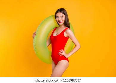 Trip leisure emergency equipment people person concept. Photo portrait of beautiful pretty cool dreamy stunning with beaming smile lady holding saving circle on shoulder isolated bright background