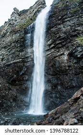 trip to nordkapp, waterfall on the mountain