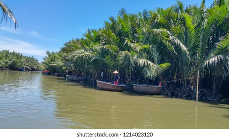 trip in Round bamboo coracle basket boat on De Vong river Hoi An Vietnam Cam Thanh village