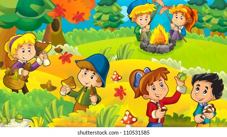 The trip to the wood - mushrooming - sightseeing - campfire - illustration for the children 2