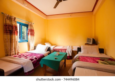 Triple bed hotel room in Nepal, a major backpacking destination