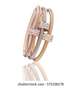 Triple bracelet with colored pink, yellow and white gold with diamonds / Triple gold bracelet with diamonds